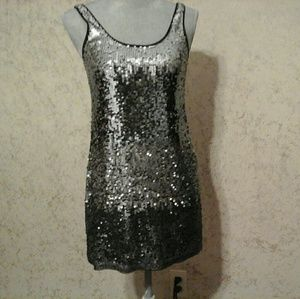 Express black/silver sequined dress